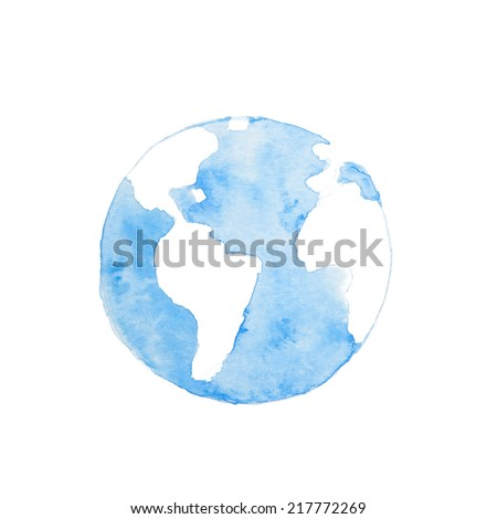 Watercolor paintings of blue earth. - stock photo