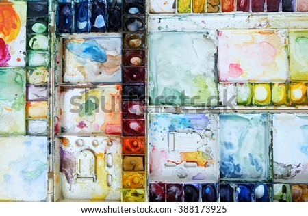 Watercolor palette dirty background - stock photo