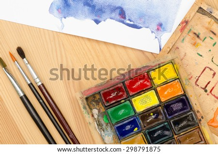 watercolor palette in wooden paintbox