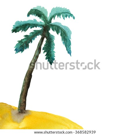 Watercolor palm tree, island, beach, sand sketch isolated on white background. Hand painting on paper. Art design element