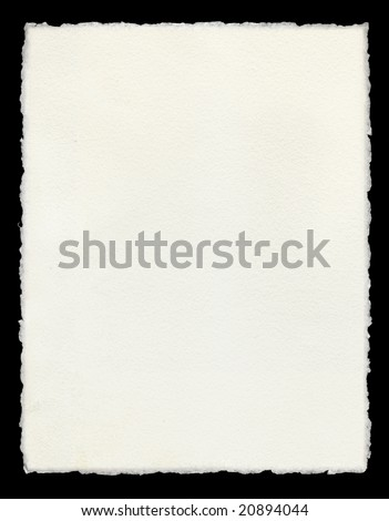 Watercolor paper with true deckled edges. - stock photo