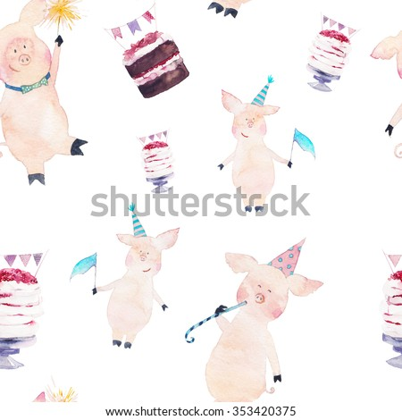 Watercolor party seamless pattern with cartoon pigs, cakes, flag garland decor. Hand drawn funny texture with holiday elements and characters on white background.  - stock photo