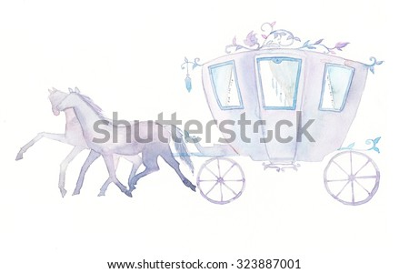 Watercolor pastel carriage and horses. Hand painted fairytale illustration isolated on white background.  - stock photo