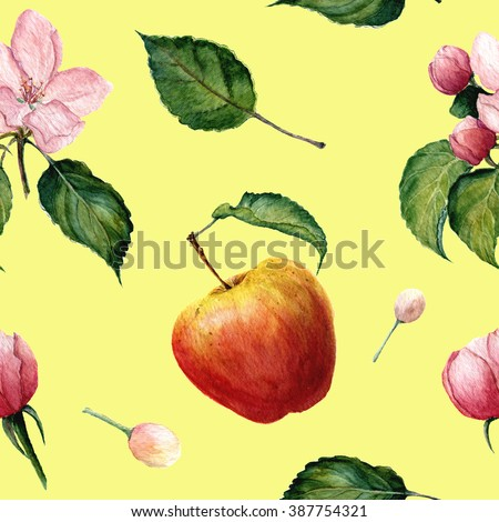 Watercolor pattern: Apple, apple blossom and leaves. For print, design, textile and background. - stock photo