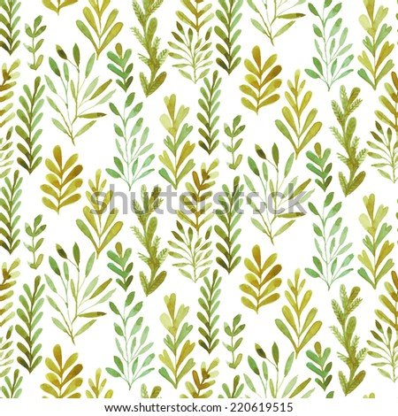 Watercolor pattern, floral texture with hand drawn  flowers and plants. Floral ornament. Original floral background. - stock photo
