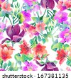 watercolor pattern of exotic flowers - stock vector