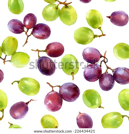 watercolor pattern of grapes