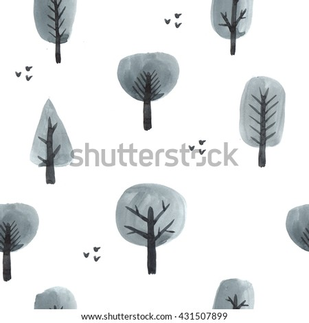 Watercolor pattern trees