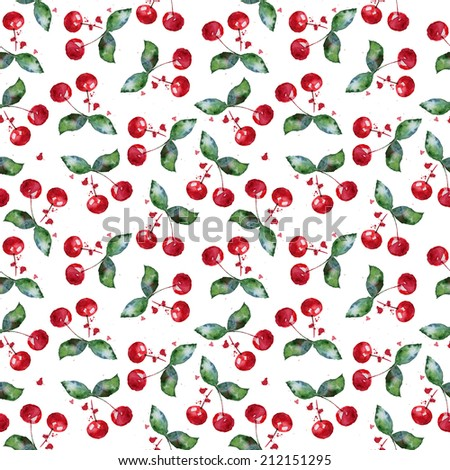 Watercolor pattern with cherries. Seamless  background - stock photo