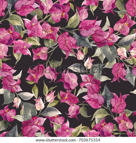 Watercolor Pattern With Oleander Flowers Tropical Purple Flower Dark Background