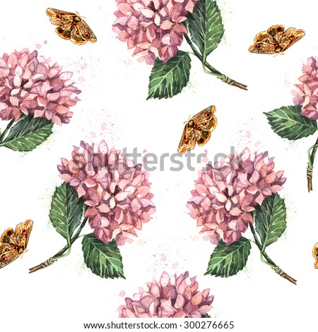 Watercolor pattern with pink hydrangeas and butterflies.  Hand watercolor painting.  Seamless pattern for fabric, paper and other printing and web projects.
