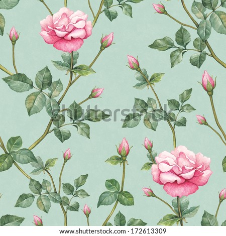 Watercolor pattern with rose illustration  - stock photo