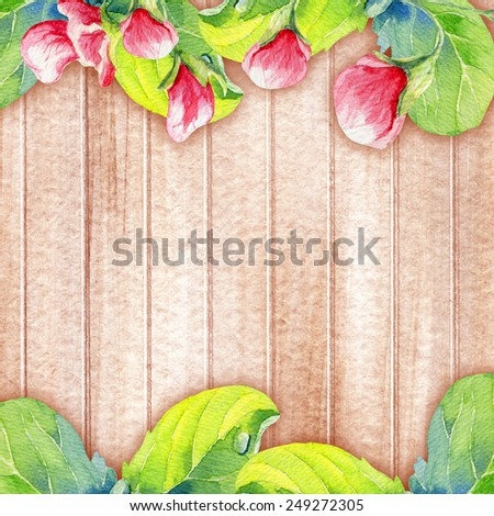 watercolor peas branch on wood background - stock photo