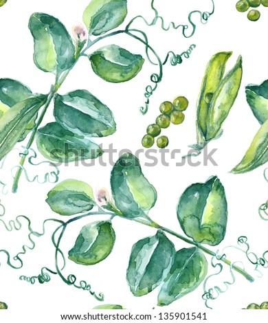 Watercolor  Peas Seamless Pattern - stock photo