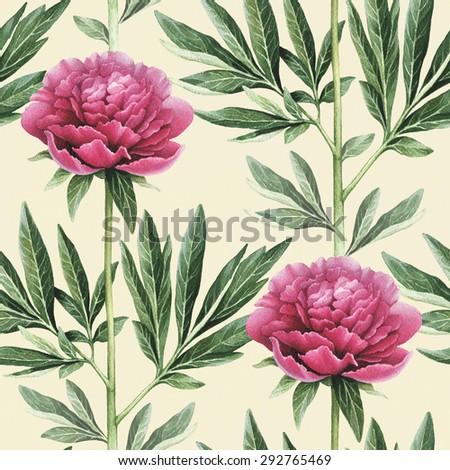 Watercolor peony flowers illustration. Seamless pattern - stock photo