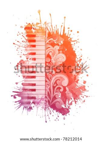 Watercolor Piano - stock photo