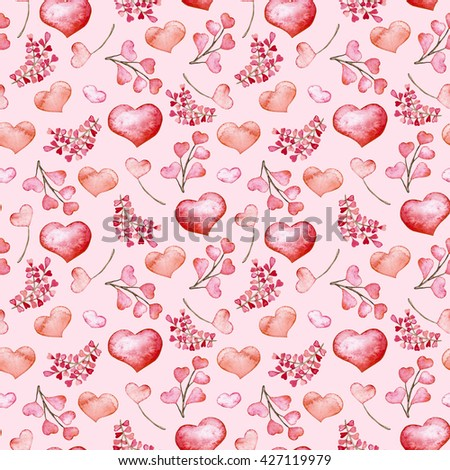 Watercolor Pink And Red Hearts Seamless Pattern