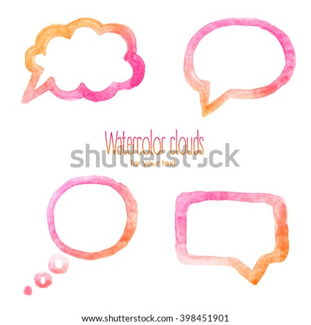 Watercolor pink clouds for text / Watercolor backgrounds for text - stock photo