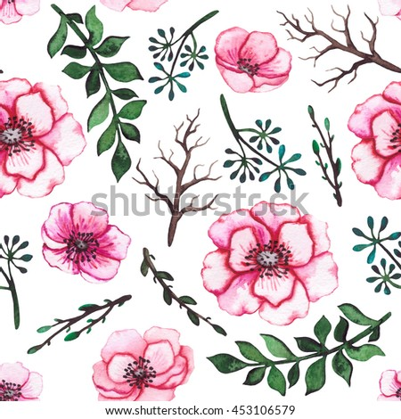 Watercolor Pink Flowers, Deep Green Leaves and Tree Branches Seamless Pattern
