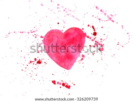 Watercolor pink heart drawing with splashes and a place for text (valentine card design template) on white background - stock photo
