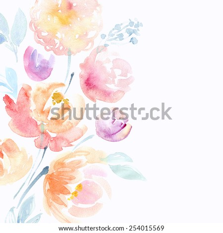 Watercolor pink peonies - stock photo