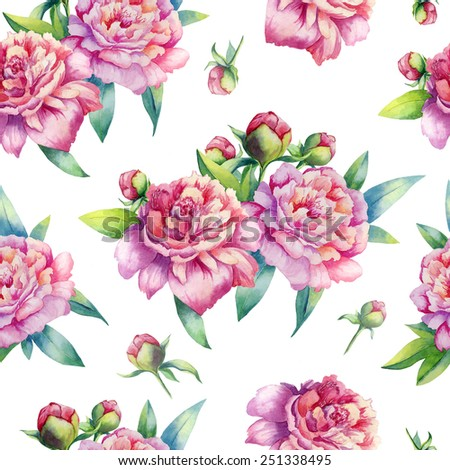 watercolor pink peony pattern on white background