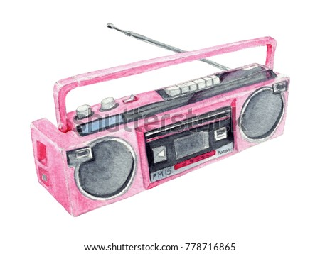 Watercolor Pink Retro Boombox Iillustration. Watercolor hand drawn vibrant retro boombox playing music from 1980's.