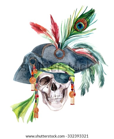 Watercolor pirate skull in a bandana and a hat with feathers. Hand painted illustration. - stock photo