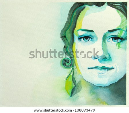 watercolor portrait of beautiful girl | handmade | self made | painting - stock photo