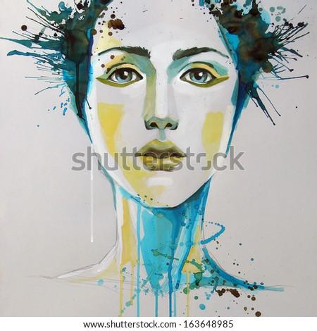 watercolor portrait of beautiful woman | handmade | self made | painting  - stock photo