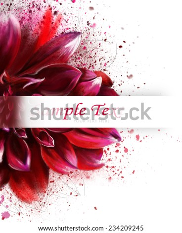 watercolor postcard with beautiful flower and text greetings - stock photo