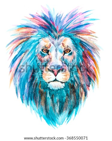 watercolor print head of a lion bright colorful illustration