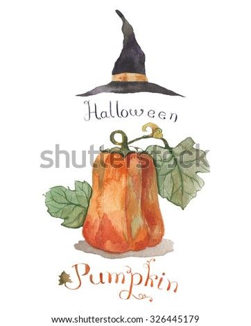 watercolor pumpkin and witch hat, isolated object for postcard, invitation and celebrate design, symbol of Thanksgiving, Halloween, Autumn - stock photo