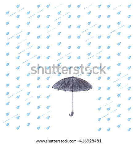 Watercolor rain and umbrella. Black umbrella isolated on white background with blue drops. - stock photo