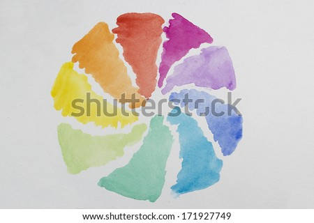 watercolor rainbow circle - stock photo