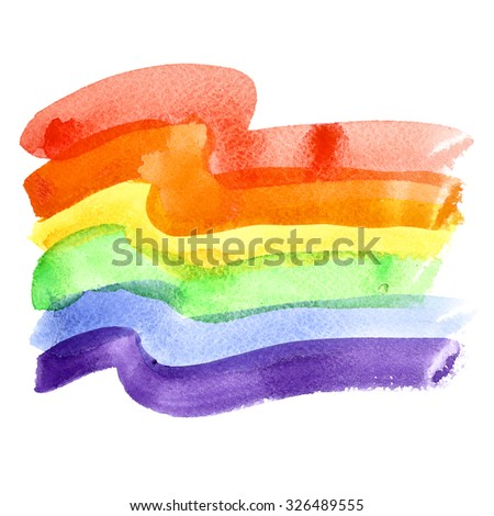 Watercolor rainbow Gay Pride Flag isolated over the white background - stock photo