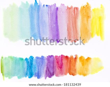Watercolor rainbow texture - stock photo