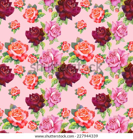 Watercolor red and pink roses seamless pattern.on pink background