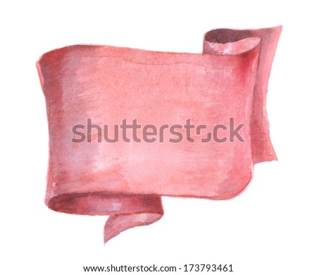 watercolor red banner, red ribbon, place for text - stock photo
