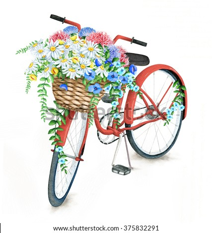 Watercolor Red Bicycle With Beautiful Flower Basket. Hand Painted Summer Bike - stock photo