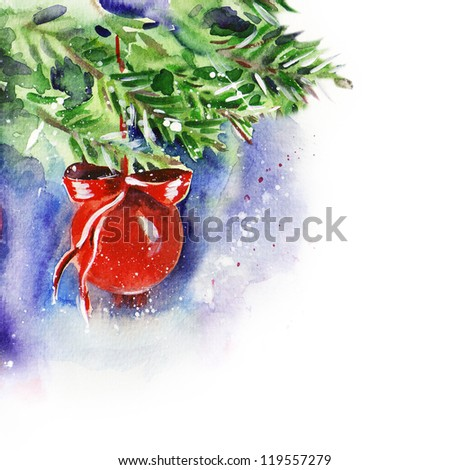 Watercolor Red Christmas Ball - stock photo