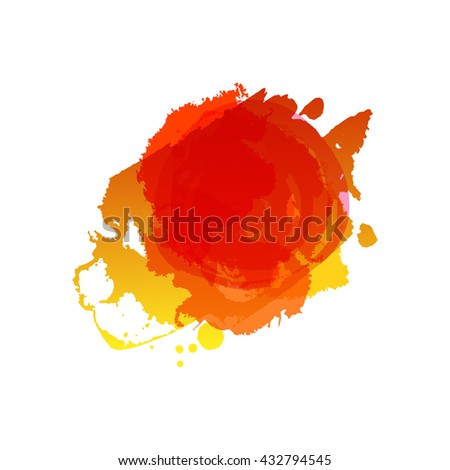 Watercolor red colors splash raster template. Frame with space for text. Grunge blob. Artistic drawn grunge background. Paint texture. Raster Ink splat. Summer and autumn grungy spot. - stock photo