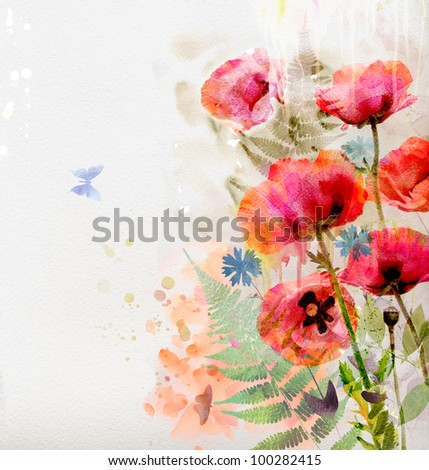 Watercolor red poppies - stock photo