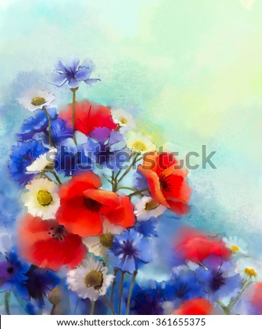 Watercolor red poppy flowers, blue cornflower and white daisy painting. Flower paint in soft color and blur style, Soft green and blue purple background. Spring floral seasonal nature background  - stock photo