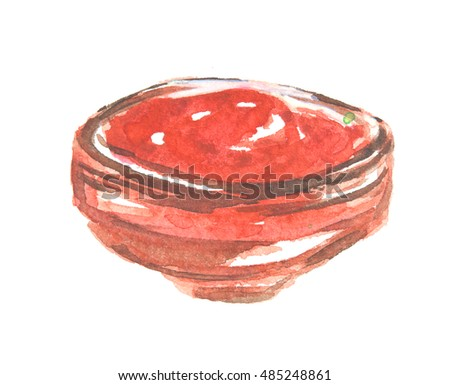 Watercolor red sauce on white background. Natural salsa or ketchup. Tasty hot tomato sauce for cooking.