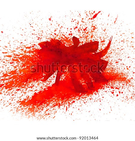 watercolor red spot blotch background isolated on white background - stock photo