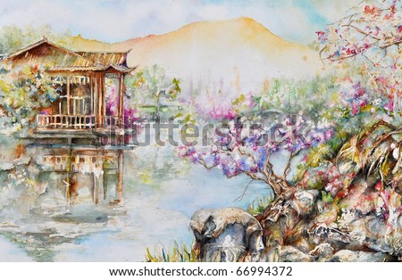 watercolor rendition of West Lake, Hangzhou China