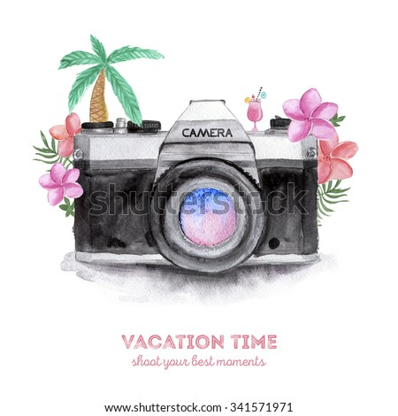 Watercolor Retro Camera with Tropical Flowers. Hand Drawn illustration. - stock photo