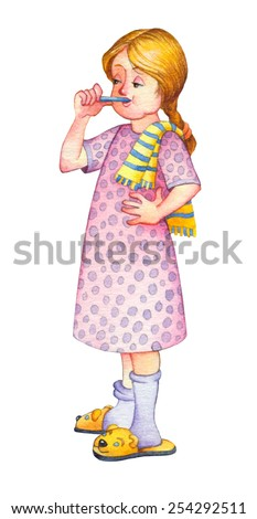 Watercolor retro picture isolated on white background. Cute happy charming little blonde girlie in pink nightgown, funny slippers with towel diligently brushing his teeth before going to bed - stock photo