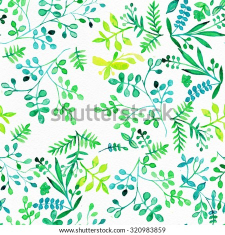 Watercolor Retro seamless pattern with trees.Seamless Tree Pattern. Seamless tree pattern with watercolor graphic which can be used as wallpaper. Autumn layout - stock photo